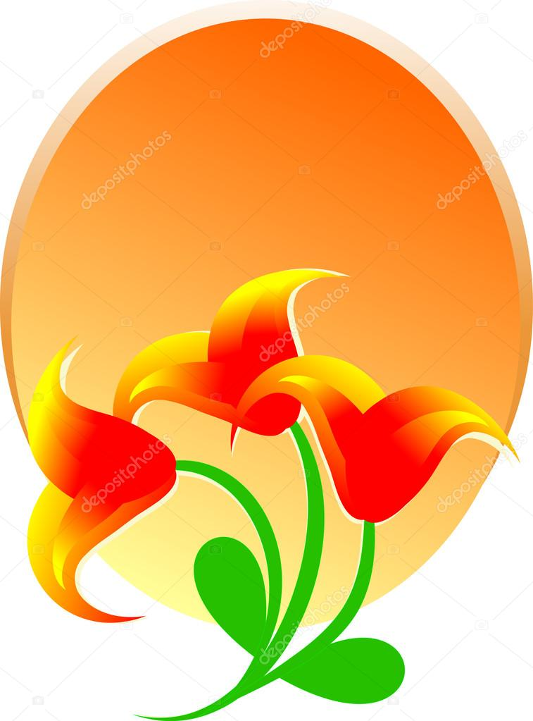 Orange Flower clipart flower bottom border Vector background flowers — flowers
