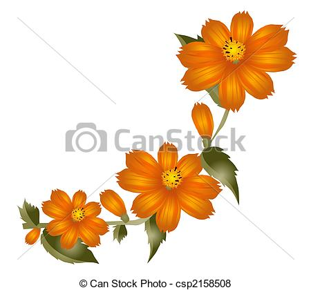 Orange Flower clipart small flower Flower leaf flower Illustration Stock