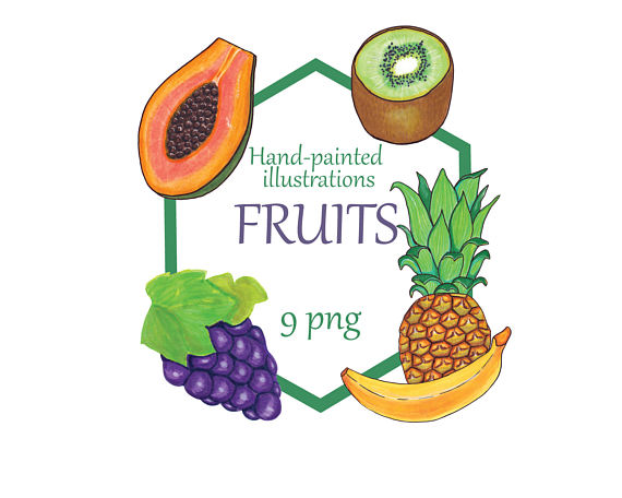 Orange (Fruit) clipart cartoon Fruits Pineapple Orange painted Fruits