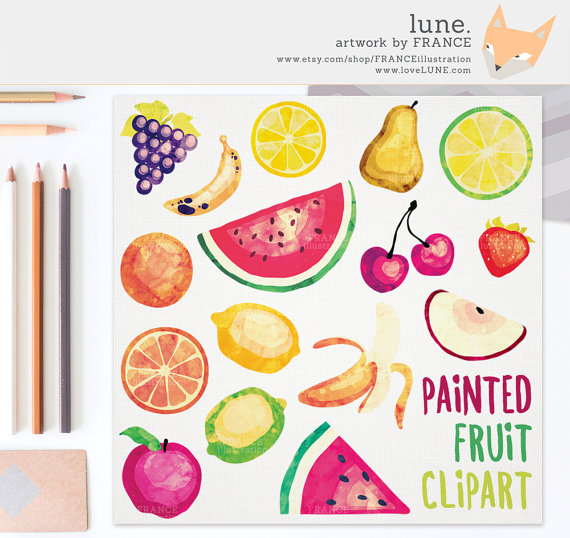 Grape clipart friut 2 Fruit Painted Fruit Watercolor