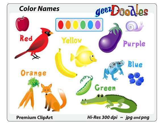 Color clipart art material On name and matching Teacher