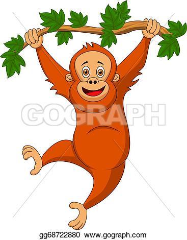 Orangutan clipart orange · Art Orangutan hanging Free