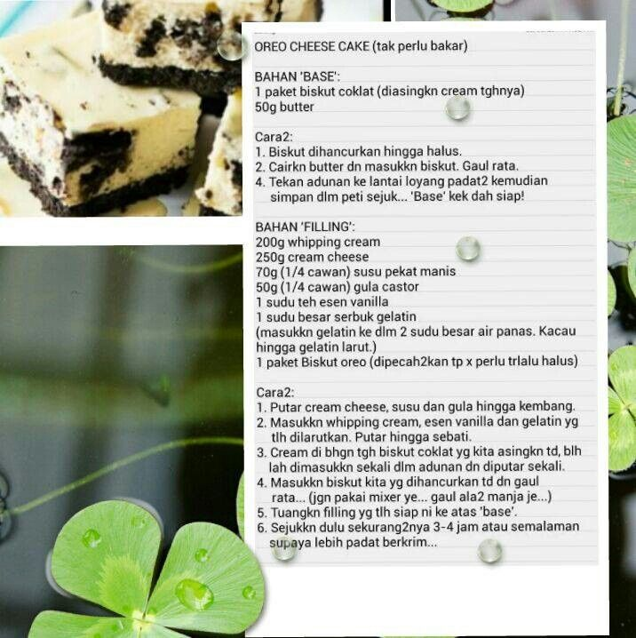 Oreo clipart biskut Resepi No cheese cake on