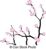 Oriental clipart Images cherry woodblock Vector style