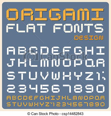 Origami clipart font Of Vector font type Origami