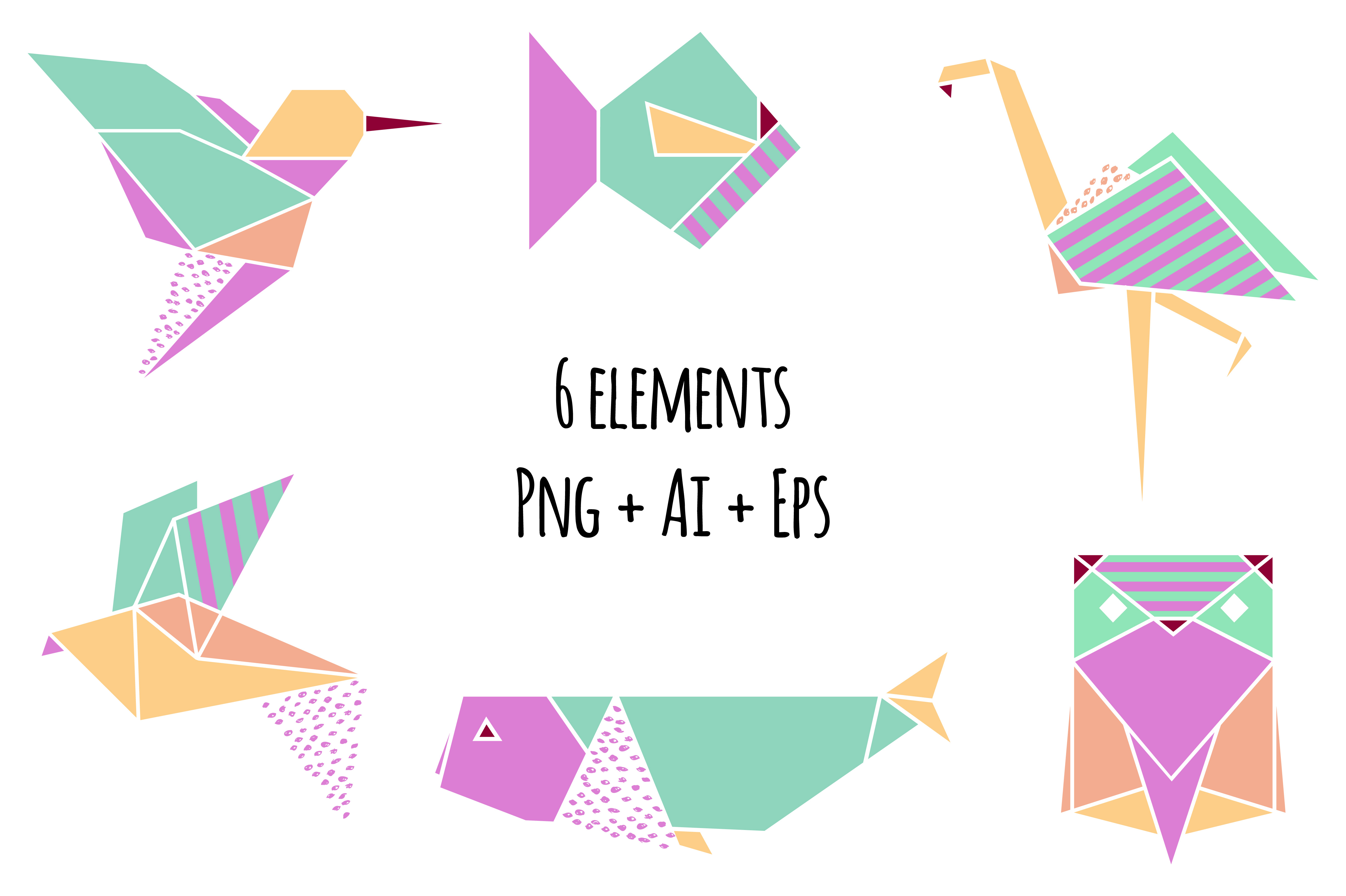 Origami clipart font Clipart Origami by Png+Ai+Eps Bundles