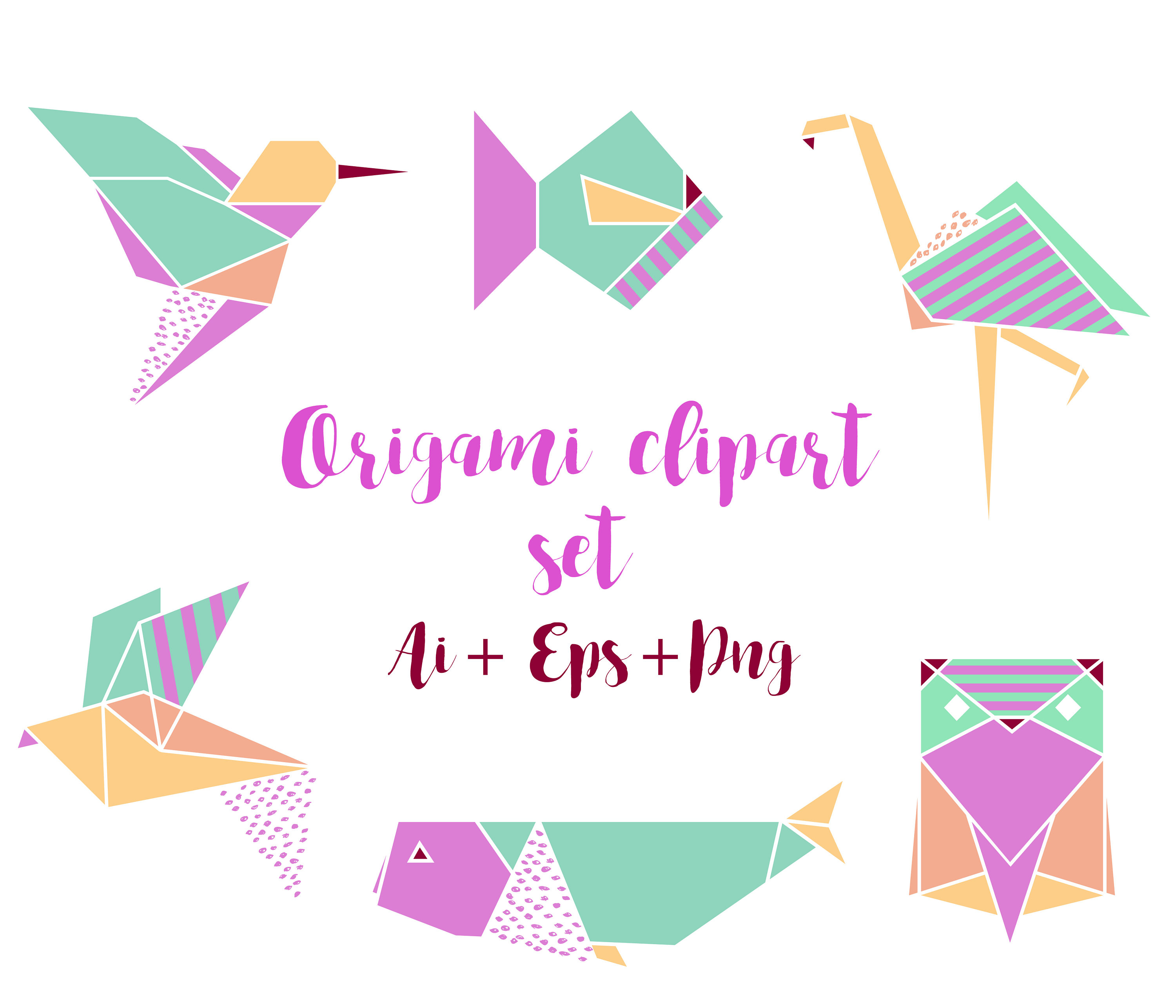 Origami clipart font Hummingbird Vector Whale this Origami