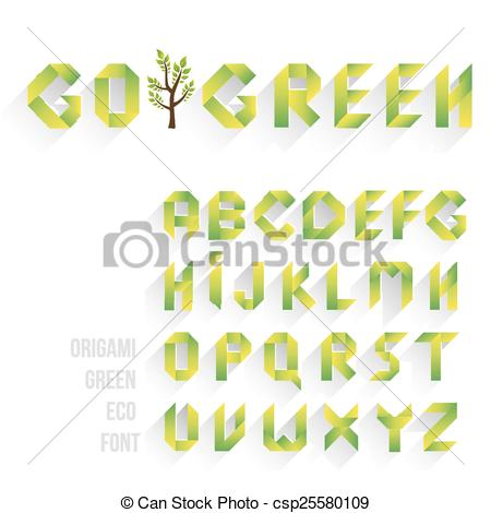 Origami clipart font Of Clipart Eco Green Letters