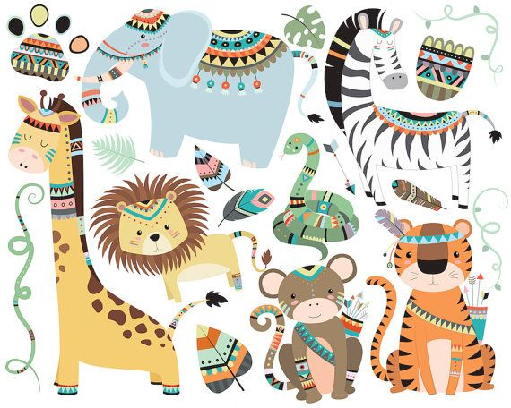 Original clipart art Clip Art Cute Jungle Illustrations