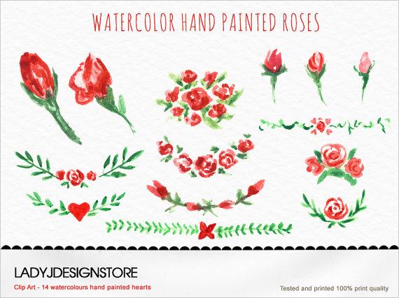Original clipart logo design Roses Original elements design painted