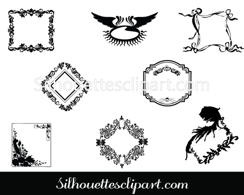 Ornamental clipart banner Banners Silhouette Vintage Silhouette
