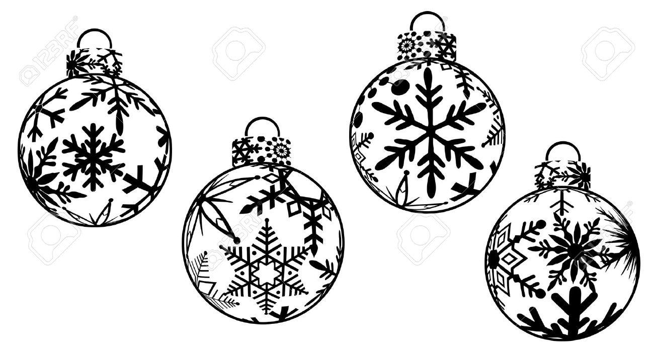 Decoration clipart black and white Christmas white and free ornament
