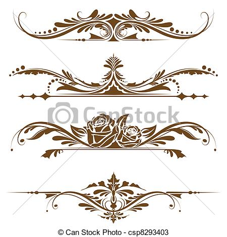 Ornamental clipart single line border Vintage vintage Vectors Border of