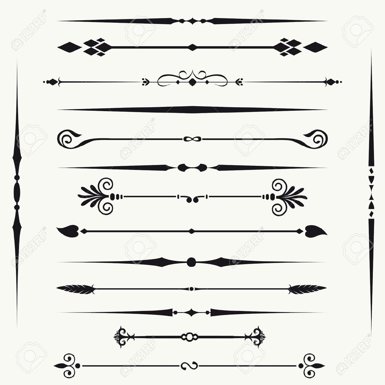 Ornamental clipart single line border Royalty And Elements Borders Design