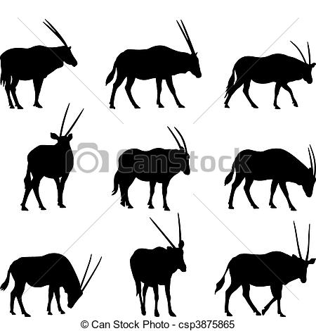 Oryx clipart Oryx csp3875865 horned Gazela
