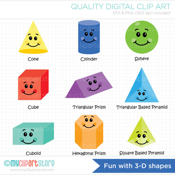 Other clipart 3d shapes Teachers Shapes  / Etsy