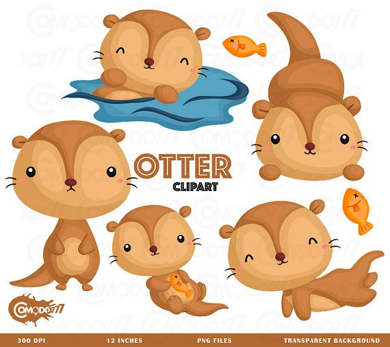 Otter clipart cute Fun Pinterest Digital Clipart Otter