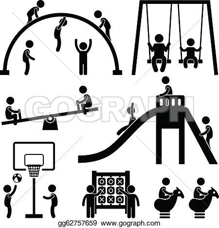 Playground clipart black and white Park Outdoor Children landscape Royalty