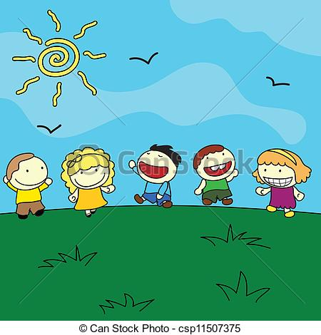 Outdoor clipart hill Illustration of happy outdoor background