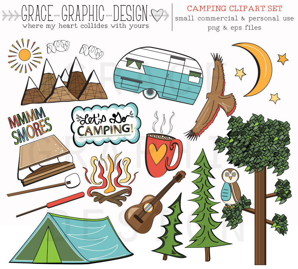 Camping clipart camper Summer nature illustrations CLIPART Etsy