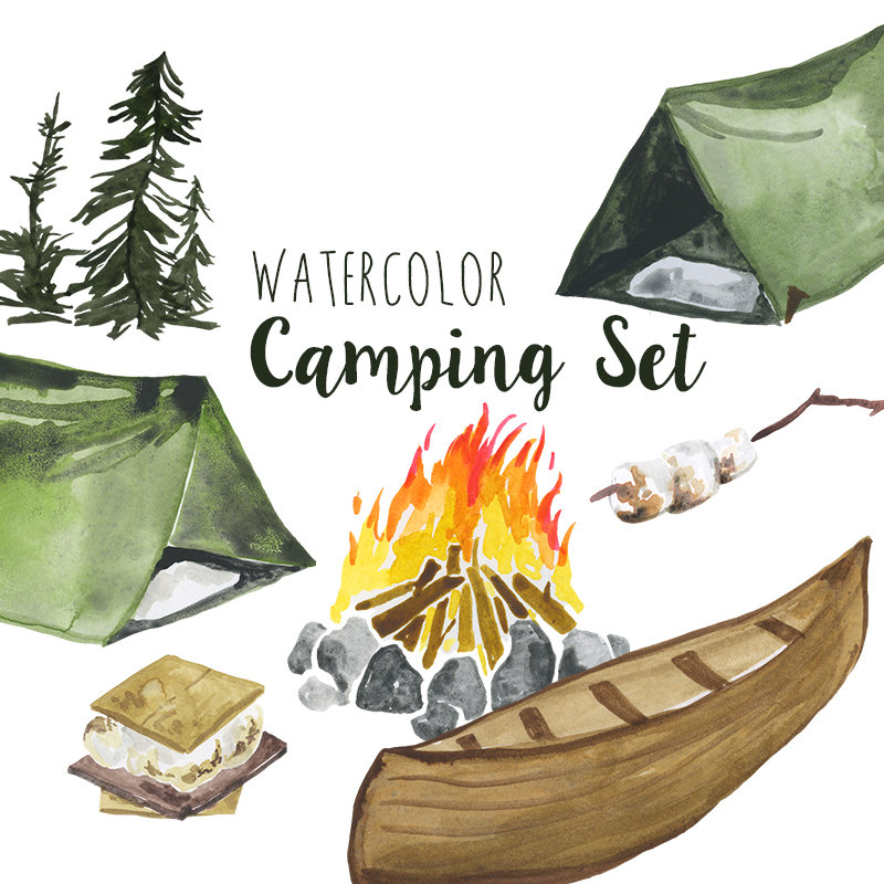 Campire clipart colored  is Set outdoors file