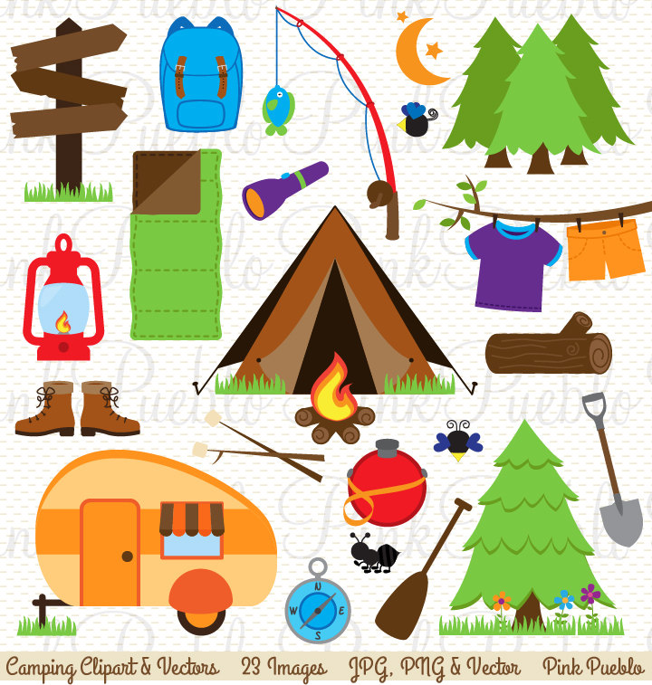 Pink clipart camping Camping Camping Art Use Commercial