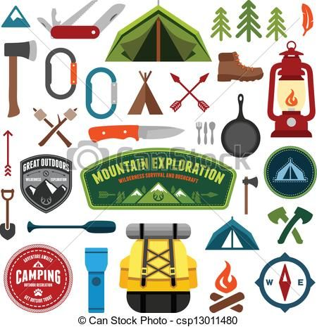 Outdoor clipart camping gear Clip camping illustration royalty stock