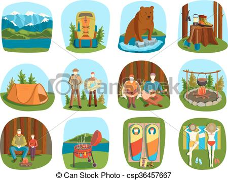 Outdoor clipart camping gear Camping of Set icons summer