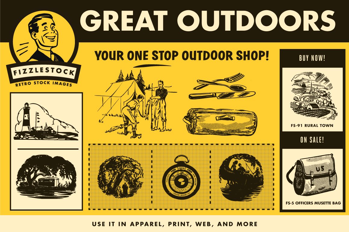Outdoor clipart great outdoors Retro Great Retro Outdoors Art