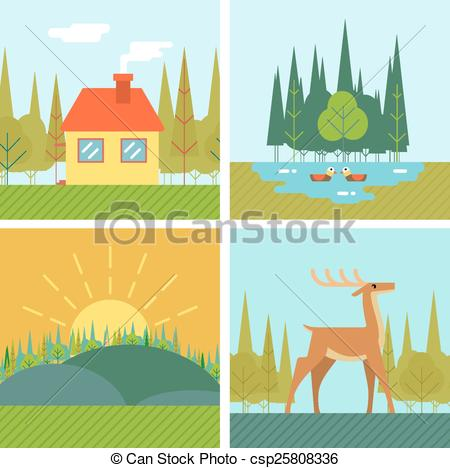 Outdoor clipart life Forest House Design Lake Vectors