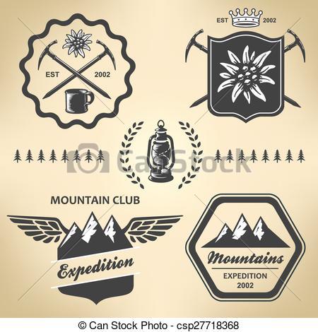 Outdoor clipart mountain hiking Mountain symbol emblem csp27718368 label