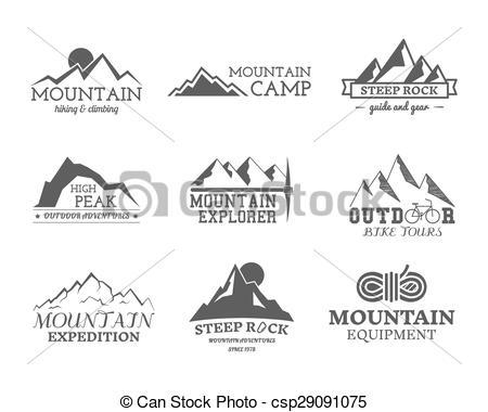 Outdoor clipart mountain hiking Travel Illustration monochrome explorer