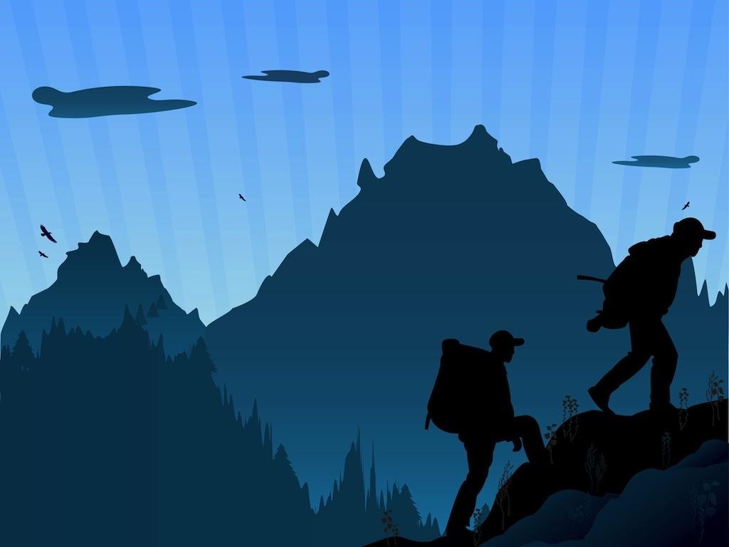 Outdoor clipart mountain hiking Hiking Mountain Silhouette Hiking Hiking