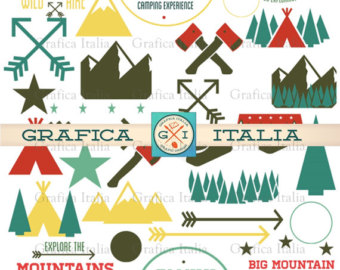 Outdoor clipart mountain hiking Camping Elements art Outdoors Decor