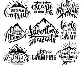 Outdoor clipart mountain sketch Bundle file Etsy outdoor clipart