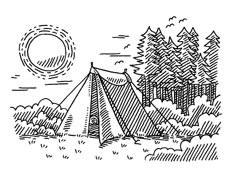 Outdoor clipart mountain sketch Vacation Drawing für Clipart