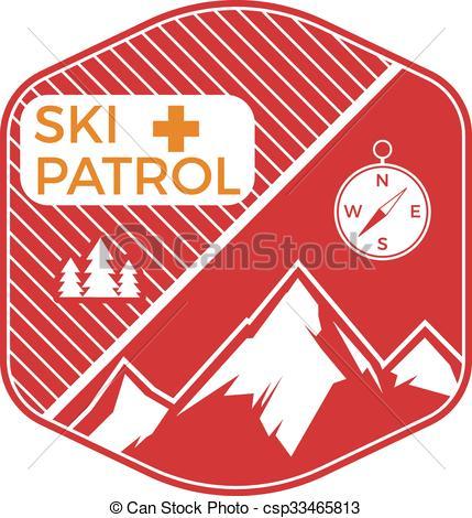 Outdoor clipart mountain skiing Clip winter Vintage badge design