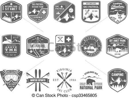 Outdoor clipart mountain skiing Vector  Labels Club winter