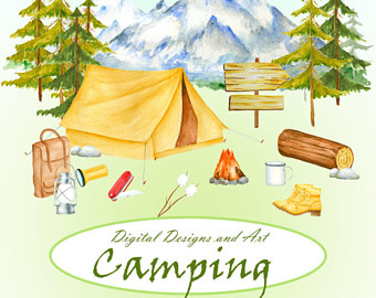 Tent clipart bon fire Clipart Forest tent mountains forest
