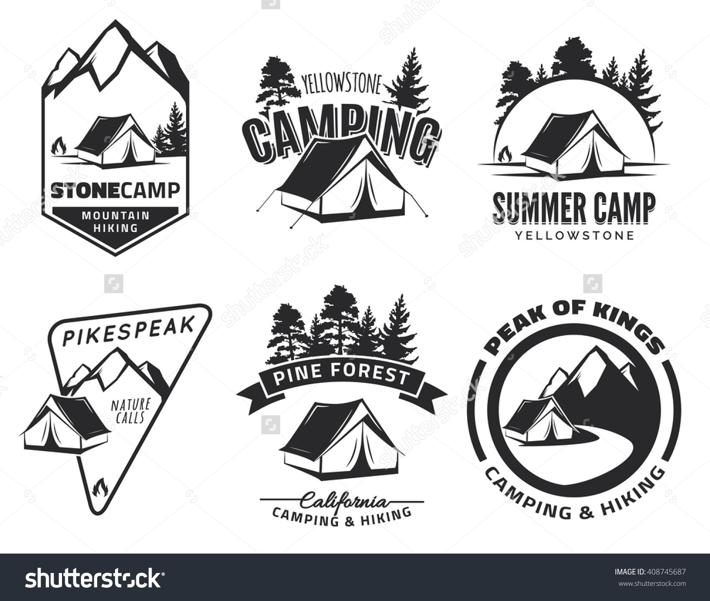 Campfire clipart outdoor adventure Of  logos badges Set