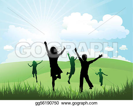 Outside clipart grass sky Stock Children sunny day Children