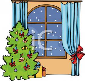 Outside clipart house tree Clipart Snowing Decorated Christmas collection