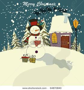 Outside clipart scenery Scene Snowman In of winter