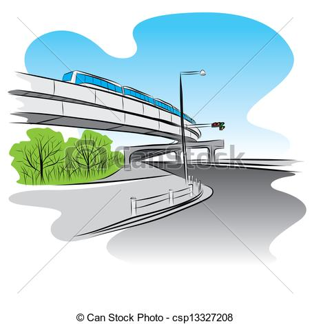 Overpass clipart Overpass bridge train Road csp13327208