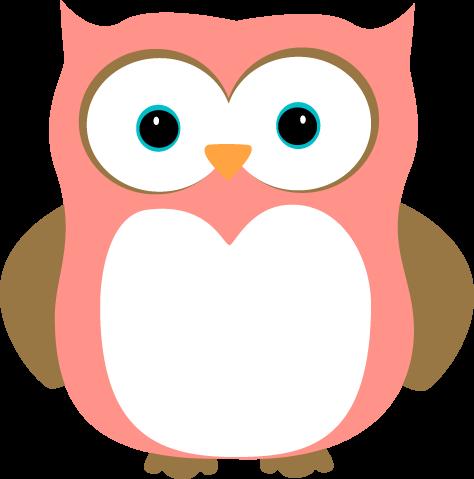 Owl clipart Brown Pink Owl Art Owl