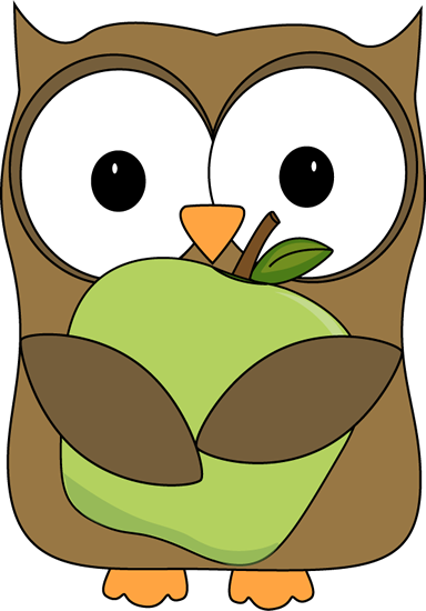 Apple clipart cute green Apple Owl Holding Apple Green