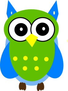 Owl clipart blue and green Com Clip Clker art And