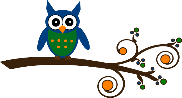 Owl clipart blue and green Com Branch Clip Clker