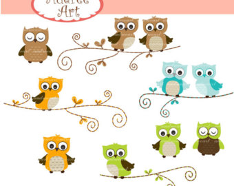 Owl clipart blue and green Owl the Blue Etsy Art