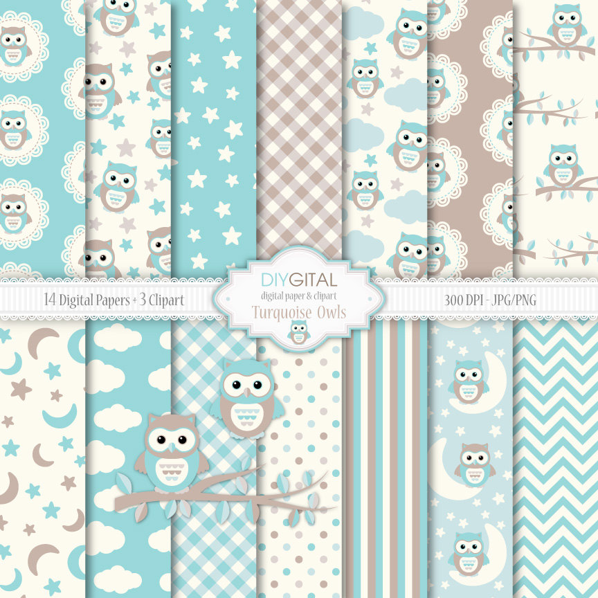 Owl clipart blue and green White Three On Blue Owls